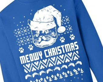 Cat Christmas Sweater Cats Ugly Christmas Sweater Fleece Pullover Sweatshirt - S M L Xl 2X