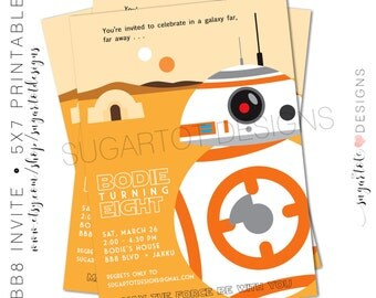 BB8 Star Wars Invitation, Star Wars Birthday Invitation, bb8 Birthday Party Invite - Printable
