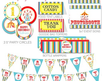 Colorful Carnival Circus Birthday Party Pack, Red, Pink, Turquoise and Yellow Circus Party, Rainbow Carnival Birthday - PRINTABLE