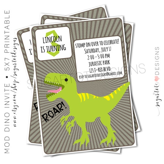 Dinosaur Birthday Party Invitation,  T-Rex Birthday Party Invitation, MODERN, Girl Dinosaur Birthday, Boy Dinosuar - PRINTABLE