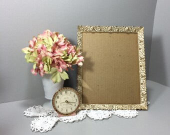 Gold Metal White Washed Picture Frame Ornate Wedding Frame Photo Frame 8 x 10 Floral Frame