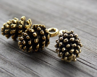12 Gold Pinecone Charms 15mm Antiqued Gold