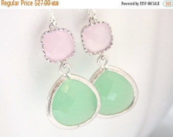 SALE Mint Green Earrings, Light Green, Pink Earrings, Soft Pink, Light Pink, Silver, Bridesmaid Earrings, Bridal Jewelry, Bridesmaid Gifts