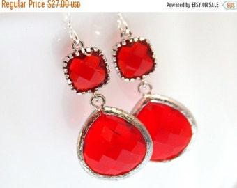 SALE Red Earrings, Glass Earrings, Silver Earrings, Ruby, Crimson, Wedding, Bridesmaid Earrings, Bridal Earrings Jewelry, Bridesmaid Gifts