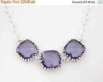 SALE Purple Necklace, Glass Necklace, Sterling Silver Necklace, Tanzanite, Amethyst, Bridesmaid Necklace, Bridal Jewelry, Bridesmaid Gift