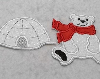 Polar Bear and Igloo (small - set of two) MADE to ORDER - Tutu & Shirt Supplies - Iron on Applique Patch 7354