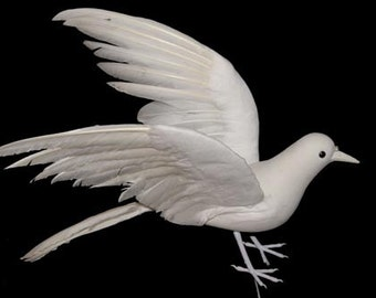 1 pc 15 Inch White Feather Dove in Flight (Deva), Wedding Dove, Funeral Dove, Holiday Doves, Easter Dove, Church Doves
