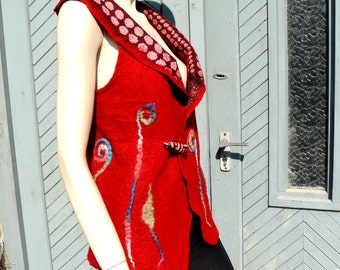 Nuno felted red vest, Felt fashion