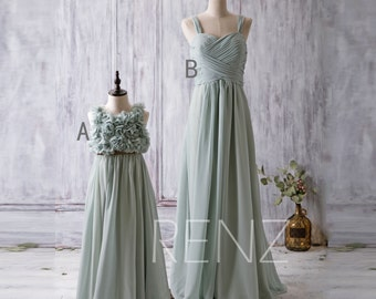 Dusty Mint Bridesmaid Dress, Mix and Match Wedding Dress, Flower Girl Dress, Prom Dress Floor Length (JK006/T080)