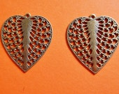 2 Pc Heart Charm Pendant Brass Ox One Sided Love Valentines Day Stamping Jewelry Mixed Media