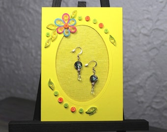 Gift&Card/Mother of Pearl earrings/Quilled Framed Card/Quilled flowers/Quilled Mat