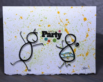 Quilled card/quilled dancers/invitation/party/blank card