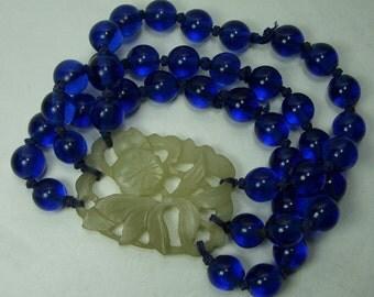 1920s Chinese Carved Chalcedony Cobalt Blue Peking Glass Bracelet