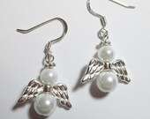Earrings/Angel Earrings/White Glass Pearls/Silver Angel Wings/Antique Silver Flower Spacer Halos/.925 Stamped SS French-Fish Hook Earwires