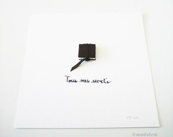 Original Minimalist Book Art- Tous mes secrets (All my secrets) - Paper, dark brown leather, handwritten French text, elegant, 8x8