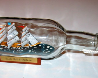 "Ship in a Bottle USS CONSTITUTION Excellent! Big  9 1/2"" Long model- Europe"