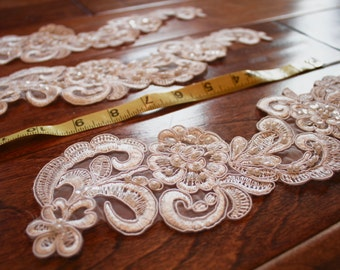 "WHITE LACE appliques, 11"" White Beaded Lace accents trimming by Vegas Veils. Ships Today!"