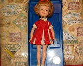 "Vintage Penny Brite, Dress in Original Red Dress, Panties, Shoes, Case, Lovely Hair, Bendy Arms & Legs, 8.5""H, Clean"