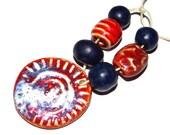 Ceramic Bead Set & Pendant Stoneware Handmade Pottery Beads Navy Orange Red
