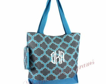 Personalized Tote Bag - Geometric Totebag Gray & Aqua- Great Dance or Overnight bag, Includes Monogram