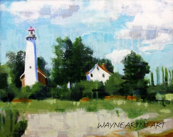 Original Acrylic Landscape Painting - Michigan Lighthouse - 16x20