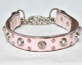 "Pink Leather Martingale Dog Collar, Training Collar, Chain Collar, Leather Martingale Collar, Chain Collar, Collar 18-19"""