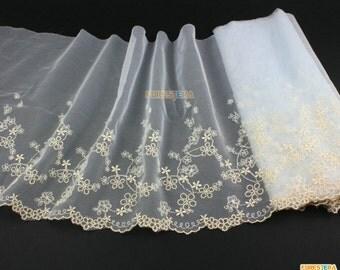 Terylene Lace Trim Light Blue Tulle Lace Trim Floral Embroidery Lace Trim 19cm Width -- 2 Yards (LACE292)