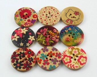 1 Set 45 Pieces 30mm Flower Painted Wood Buttons Floral Assortment Buttons (ZH40)