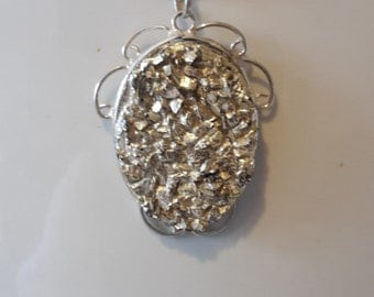 Vintage Fools Gold Pyrite Nugget  in Real Sterling Silver Pendant