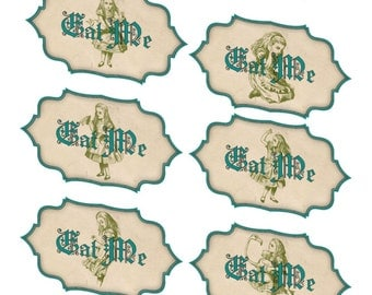 Alice in Wonderland 10 large eat me glossy laminated labels stickers party decoration