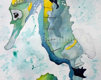 Watercolor painting of Seahorse, nautical watercolor art, seahorse wall decor, ocean life artwork,