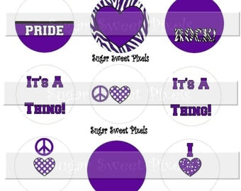 INSTANT DOWNLOAD Blank Purple White School  Team Mascot  1 inch Circle Bottlecap Images 4x6 sheet