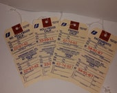 Vintage string tags luggage baggage claim ticket label Greyhound Bus 4 unused California city lot old paper supplies