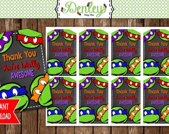 INSTANT DOWNLOAD: Ninja Turtle favor tags (NT09)