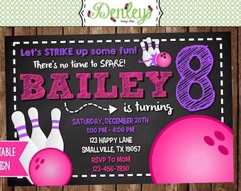 Bowling Birthday Invitation, Girl Bowling Invitation, Girl Bowl Party, Bowling Invite, Pink Bowling (BO03)