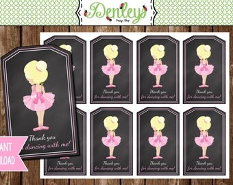 INSTANT DOWNLOAD: Dancing Ballerina Tags (TG002)