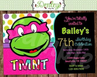 Girl Teenage Mutant Ninja Turtle Birthday Invitation (NT02)