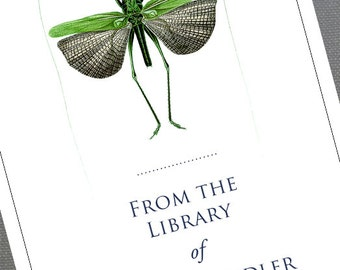 Antique Insect,Victorian Specimen,Entomology Bookplate,Personalized Bookplate, Set of 24