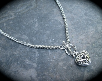 "Puffed heart silver filigree necklace with foxtail chain and toggle clasp 16 1/2"" toggle necklace"