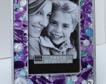 Picture frame Jewish Wedding glass shards, fused glass & dichroic, initials, date, memento, custom made ooak