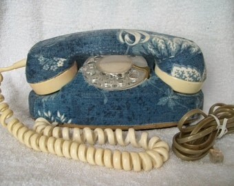 Vintage 1968 Northern Electric Working Princess Telephone in a Denim Shabby Chic