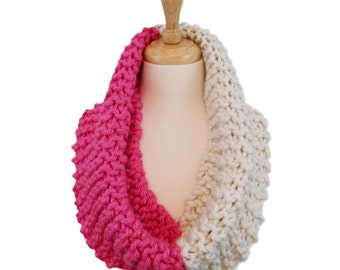 Large Chunky Ribbed Knit Cowl, Hand Knitted Bright Pink and Ivory Cowl Hood, Infinity Cowl Scarf, Oversized Snood