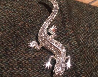 Vintage Liz Claiborne Rhinestone brooch lizard EUC Vintage jewelry