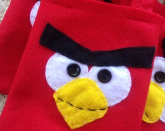 ANGRY BIRDS PARTY/felt party favor bags/ for boys and girls/Set of 6 bags/