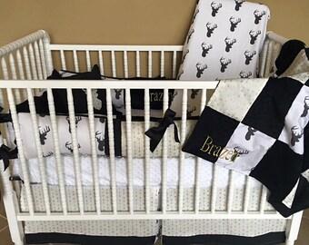 Custom baby bedding 6 pc set woodland, deer, forest, lodge, black deer head, gold metallic arrow, gender neutral, black and white baby bed