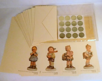 "Vintage GOEBEL Collectors' Club STATIONERY - PAPER Set ""M.I. Hummel"" Figures - Four (4) Different Designs 16 Sheets - U.S.A. Made"
