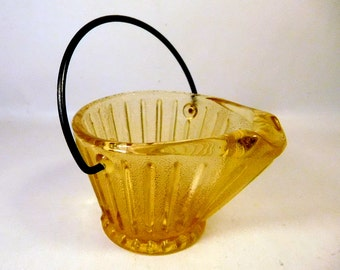 Vintage AMBER GLASS Coal Bucket / Ashtray / Succulent Planter / Miniature - Small /