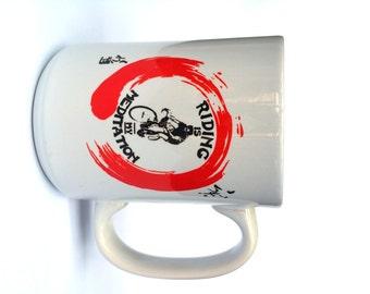 Bicycle Mug-Riding is My Mediation-Bike Coffee Mug, Cycling Mug, Bike Gift, Cyclist Gift, Road Bike-Available in 2 sizes