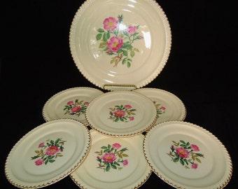 Harker Pottery Co. 7 Piece Floral Cake Set, 22 K Gold