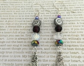 Kitty Cat Earrings - Limited Edition - Made With Czech Crystals In Purple, White AB And Silver Great For Cat Lovers! Pussy Cat Felines